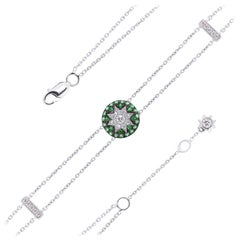 Fine Jewelry Tsavorite Diamond White Gold Bracelet