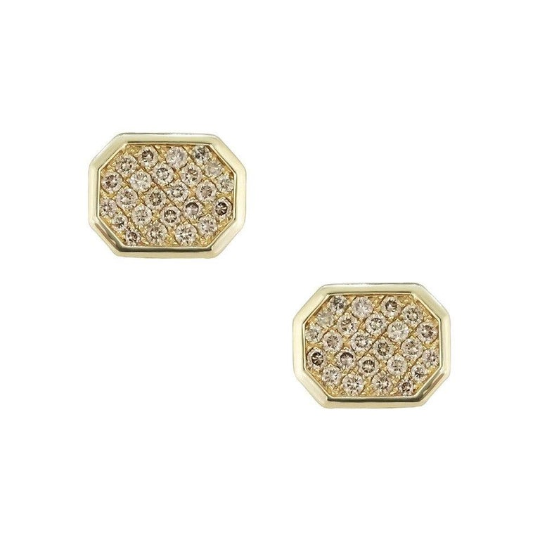 Round Cut Fine Jewelry Yellow Gold Statement Cufflinks For Sale
