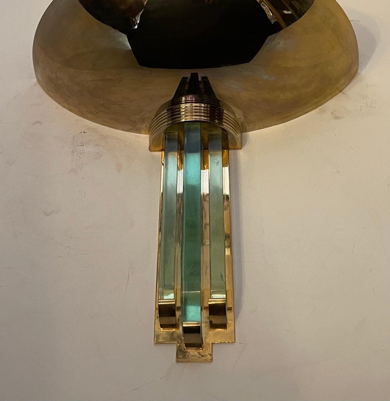 Art Deco Fine Karl Springer Mid-Century Modern Polished Brass Glass Purcell Pair Sconces For Sale