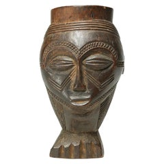 Fine Kuba Cup with Expressive Face on a Foot Early 20th Century African Art