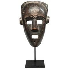 Fine Kuba Kete Face Mask Striking Square Eyes, Mouth Congo, Africa Custom Stand