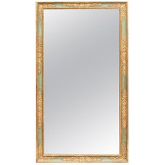 Fine Large 19th Century Empire Painted and Gilt Tall Neoclassical Style Mirror