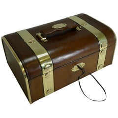 Fine Large Antique French Leather and Brass Jewellery Box, circa 1890