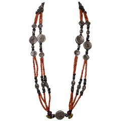 Fine Large Antique Silver Coral Tribal Necklace Asian Antiques