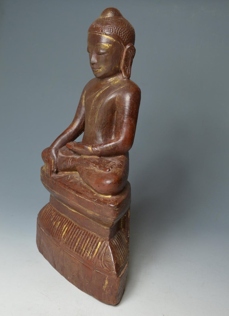 Fine Large Burmese Shan Wood Buddha 18th Century 中国古董 Asian Art Antiques In Good Condition For Sale In London, GB