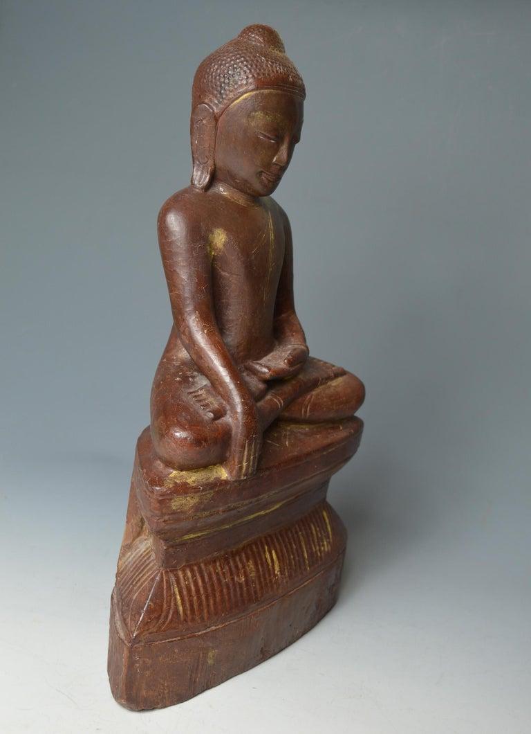 19th Century Fine Large Burmese Shan Wood Buddha 18th Century 中国古董 Asian Art Antiques For Sale