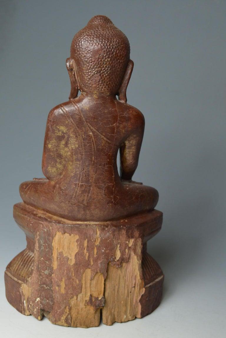 Fine Large Burmese Shan Wood Buddha 18th Century 中国古董 Asian Art Antiques For Sale 1