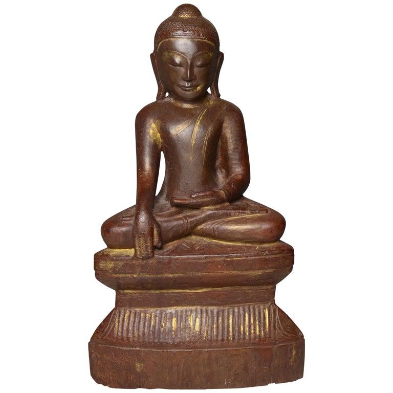Fine Large Burmese Shan Wood Buddha 18th Century 中国古董 Asian Art Antiques For Sale