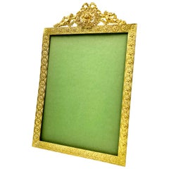Fine Large French Bronze Picture Frame, Angels and Lion Motif, Late 19th Century