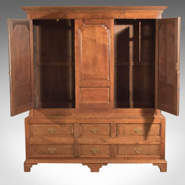 This is an antique, Georgian, vernacular wardrobe on stand dating to circa 1800.  A superior example, the proportions of this cabinet are as delightful as the aged oak that glows in a warm, waxed, russet finish displaying modularly rays and