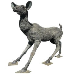 Fine Large Japanese Bronze Garden Deer Sculpture High