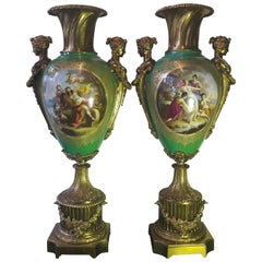 Fine Large Pair of 19th Century Sevres Style Vases