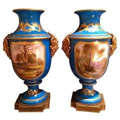 Fine Large Pair of Sevres Vases, Baluster Form in Bleu Celeste with Gilt Bronze