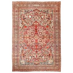 "Fine Large Silk & Wool Antique Persian Kerman Lavar Rug. Size: 10' 6"" x 15' 3"""
