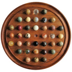 Fine Large Table Marble Solitaire Game with 36 Agate and Glass Marbles, French