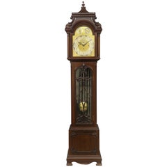 Fine Late 19th Century English Carved Nine Tube Longcase Grandfather Clock