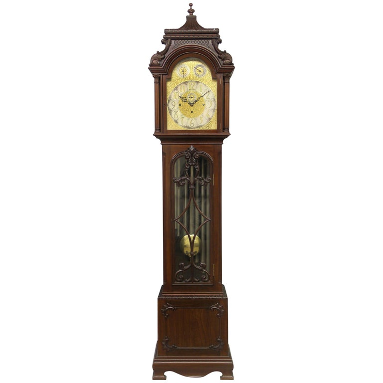 Fine Late 19th Century English Carved Nine Tube Longcase Grandfather Clock For Sale