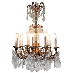Fine Late 19th Century Rococo Doré Bronze Crystal Large Fifteen-Light Chandelier