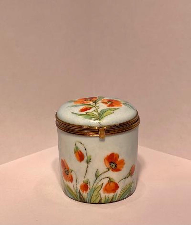 French Provincial Fine Limoges France Hand Painted Poppy Flower Motif Postage Stamp Holder Box For Sale