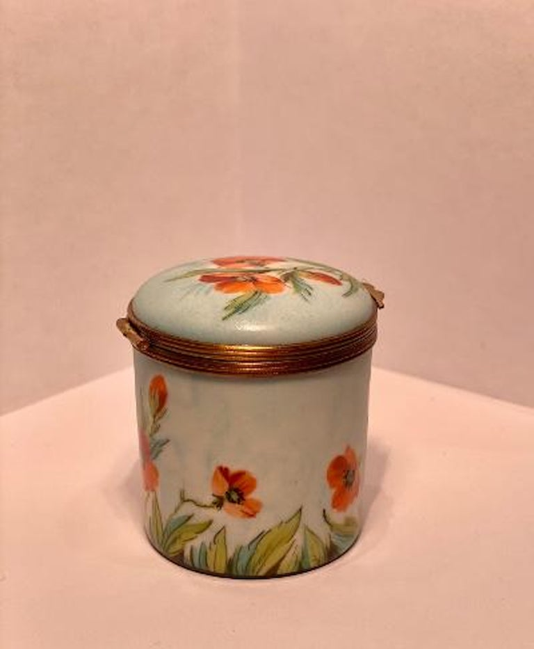 French Fine Limoges France Hand Painted Poppy Flower Motif Postage Stamp Holder Box For Sale