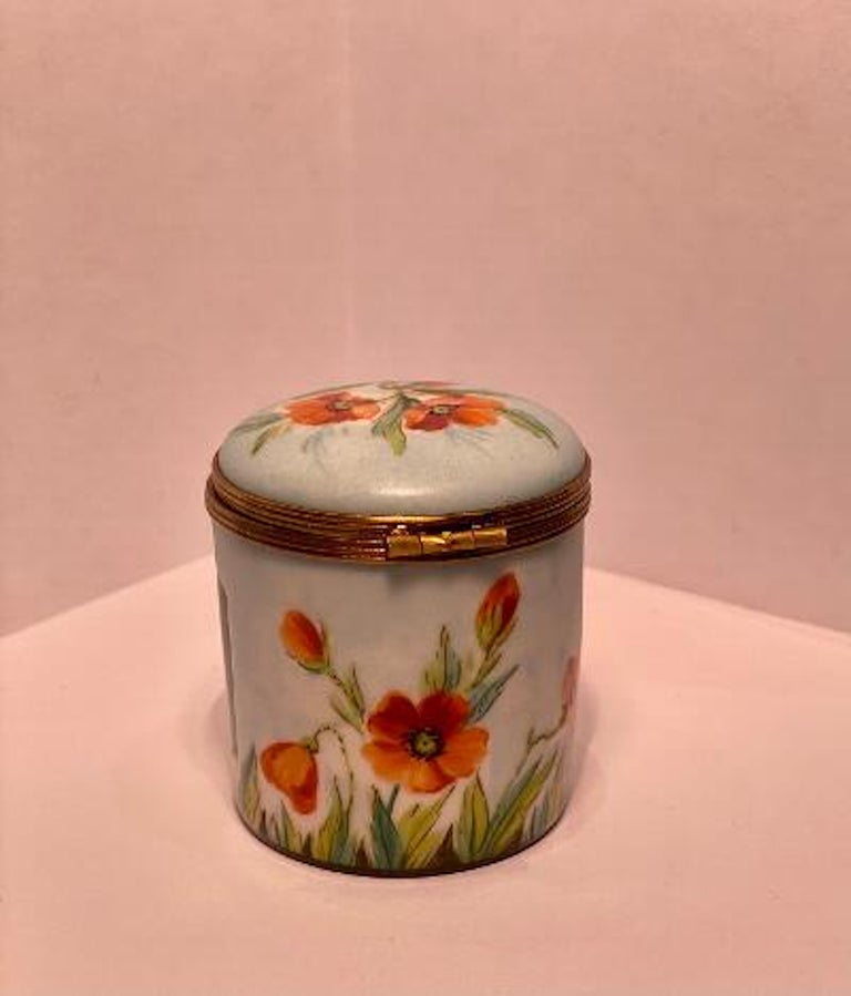 Hand-Painted Fine Limoges France Hand Painted Poppy Flower Motif Postage Stamp Holder Box For Sale
