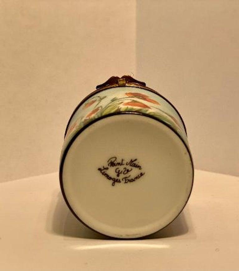 Porcelain Fine Limoges France Hand Painted Poppy Flower Motif Postage Stamp Holder Box For Sale