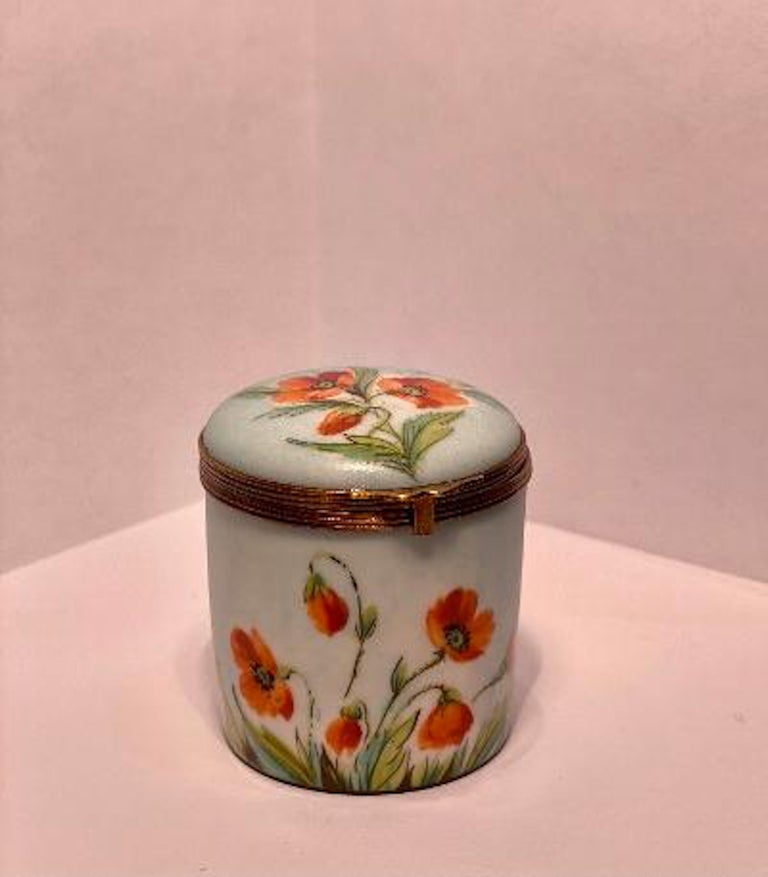 Fine Limoges France Hand Painted Poppy Flower Motif Postage Stamp Holder Box For Sale 1