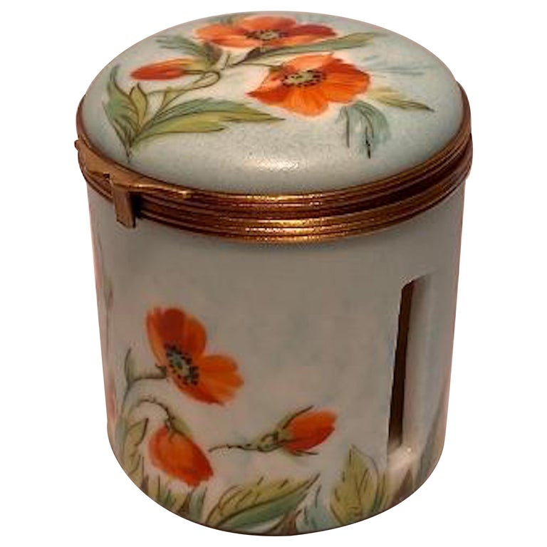 Fine Limoges France Hand Painted Poppy Flower Motif Postage Stamp Holder Box For Sale