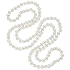 Fine Long Saltwater Cultured Pearl Necklace