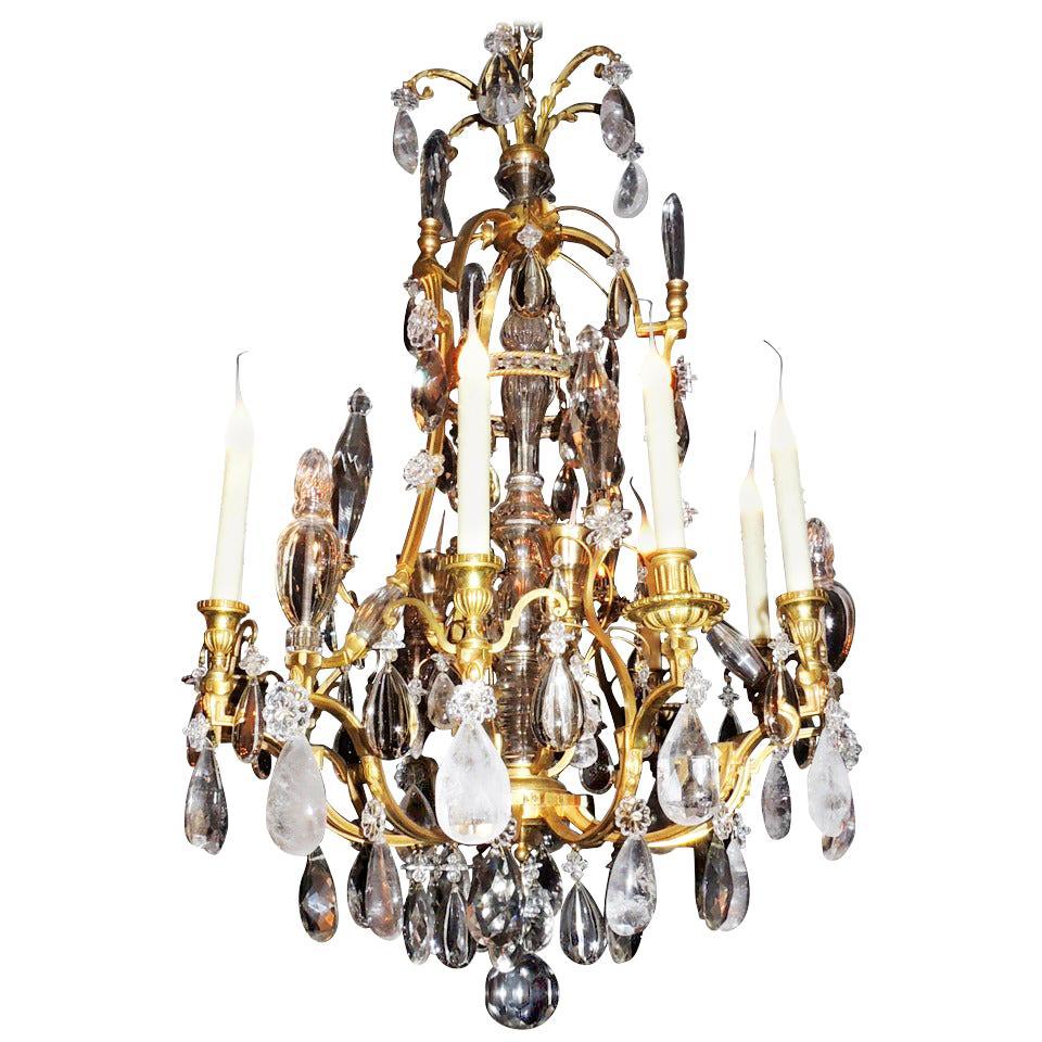 Fine Louis Philippe French Doré Bronze and Rock Crystal Twelve-Light Chandelier