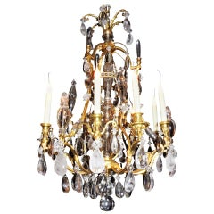 Fine Louis Philippe French Doré Bronze and Rock Crystal Twelve-Light Chandelier