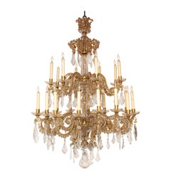 Fine Louis XV Crystal and Bronze 24-Light Chandelier