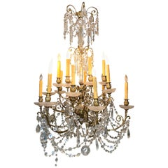 Fine Louis XV Style Gilt-Bronze and Cut Crystal 18-Light Chandelier 19th Century