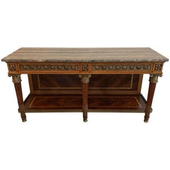 Fine Louis XVI French Mahogany Ormolu Mounted Dessert Console Table Sideboard