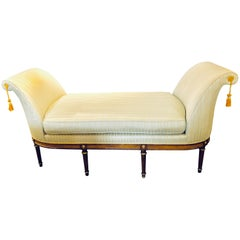 Fine Louis XVI Style Chaise Lounge or Daybed in a Silk Upholstery