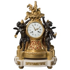 Fine Louis XVI Style Gilt and Patinated Bronze Figural Clock, circa 1870