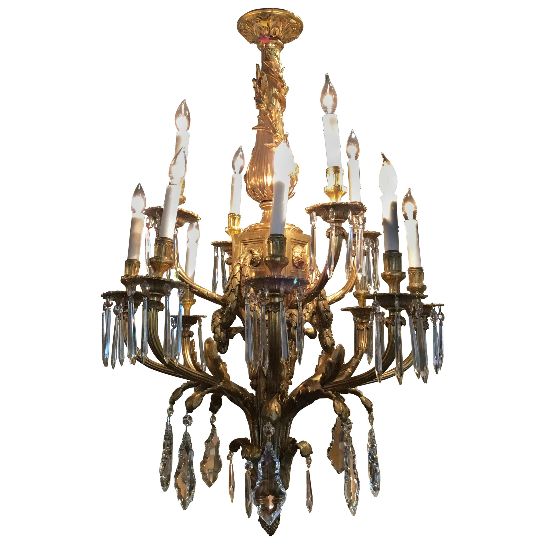 Fine Louis XVI Style Gilt Bronze and Crystal Twelve-Light Chandelier 19th c.