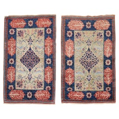 Fine Love Poem Pair of Persian Tabriz Mat Rugs