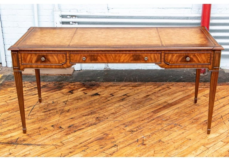 Fine Maitland - Smith French Regency Style Burled Mahogany Leather Top Desk For Sale 5