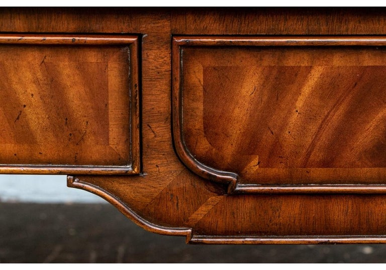 Embossed Fine Maitland - Smith French Regency Style Burled Mahogany Leather Top Desk For Sale