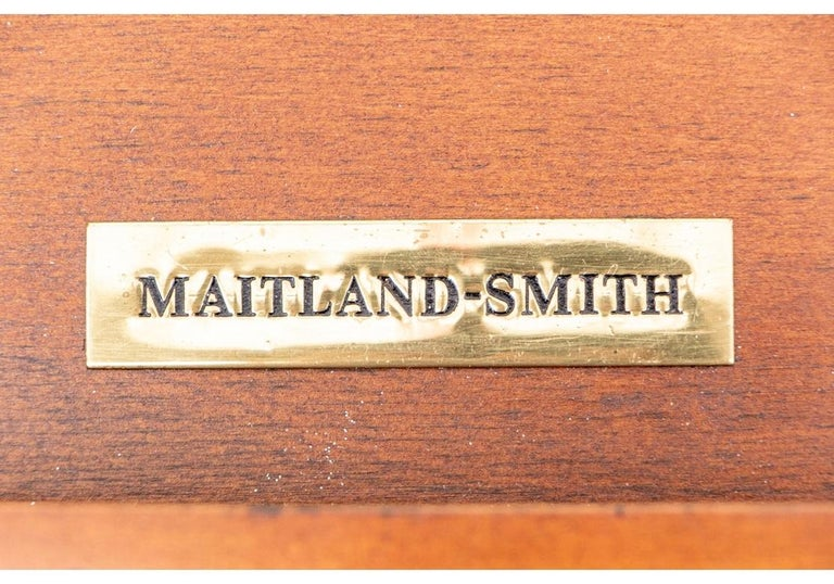 Fine Maitland - Smith French Regency Style Burled Mahogany Leather Top Desk For Sale 1