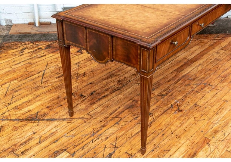 Fine Maitland - Smith French Regency Style Burled Mahogany Leather Top Desk For Sale 2