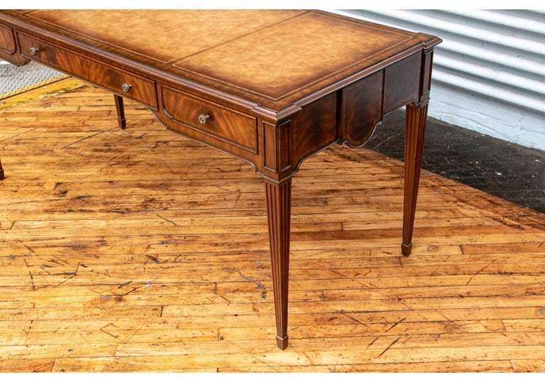 Fine Maitland - Smith French Regency Style Burled Mahogany Leather Top Desk For Sale 4