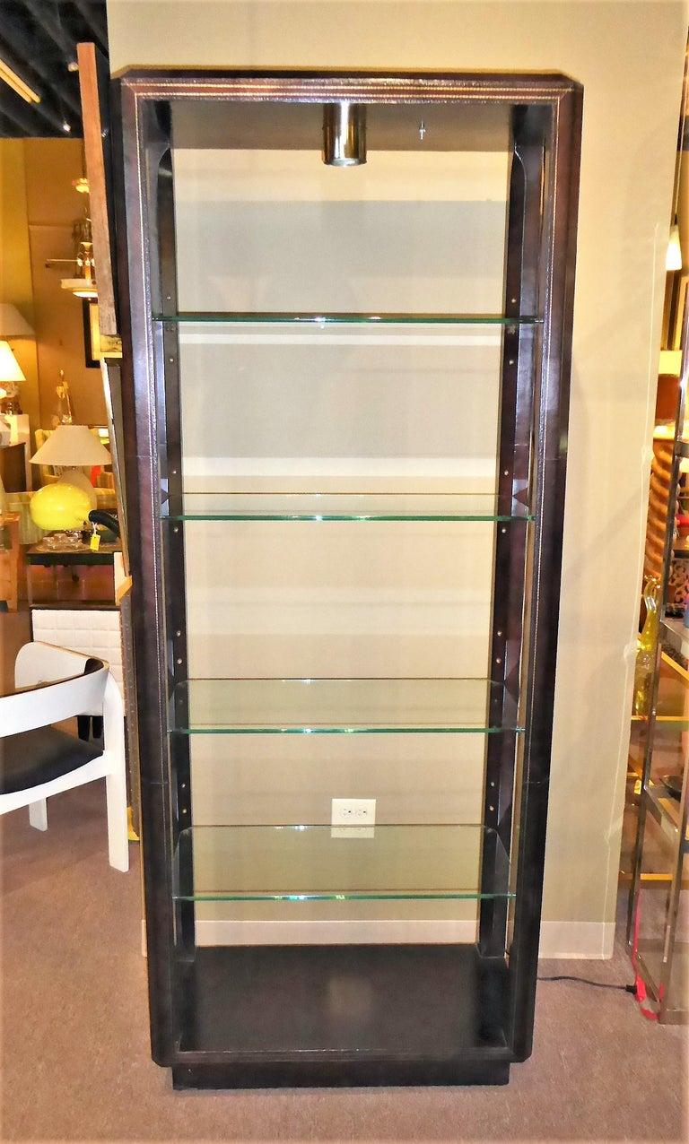 Embossed Fine Maitland Smith Gold Leaf Tooled Leather Wrapped Étagère Shelves Bar For Sale