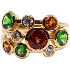 Fine Mandarine Garnet Tsavorite Diamond 18 Karat Rose Gold Ring