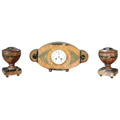 Fine Marble French Art Deco Mantle Clock Set with Garnitures, circa 1920