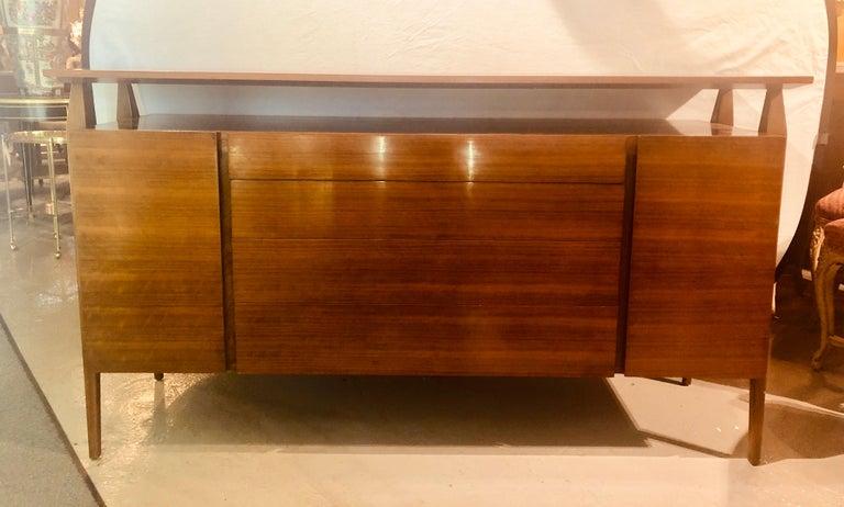 Mid-Century Modern Fine MCM Gio Ponti Figured Walnut Cabinet Credenza Having Manufacturer Label For Sale