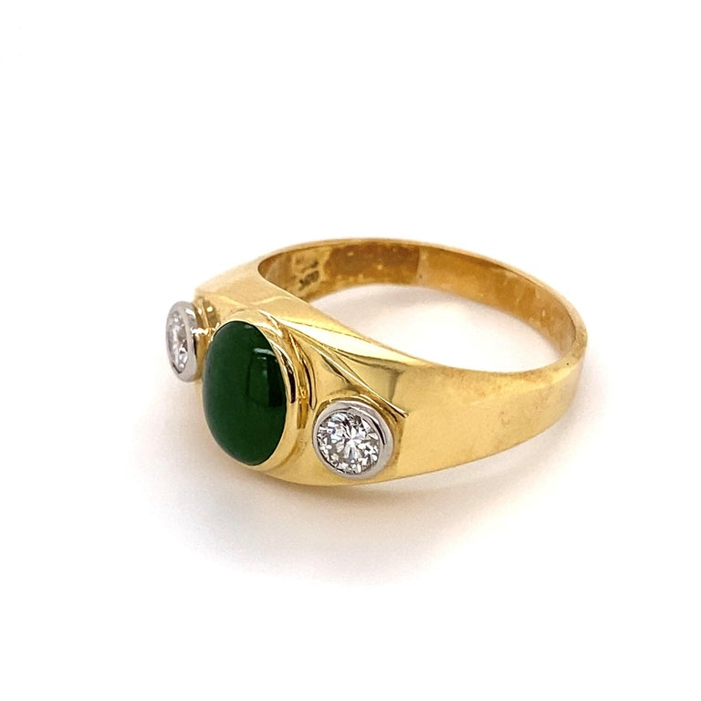 Mixed Cut Fine Men's Jade and Diamond 3-Stone Gold Signet Ring Estate Fine Jewelry For Sale
