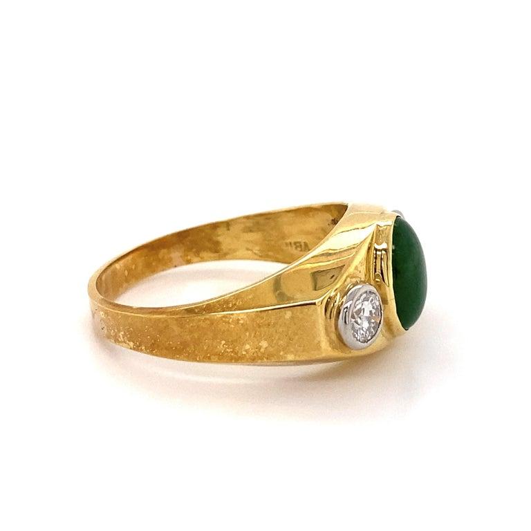 Men's Fine Men's Jade and Diamond 3-Stone Gold Signet Ring Estate Fine Jewelry For Sale