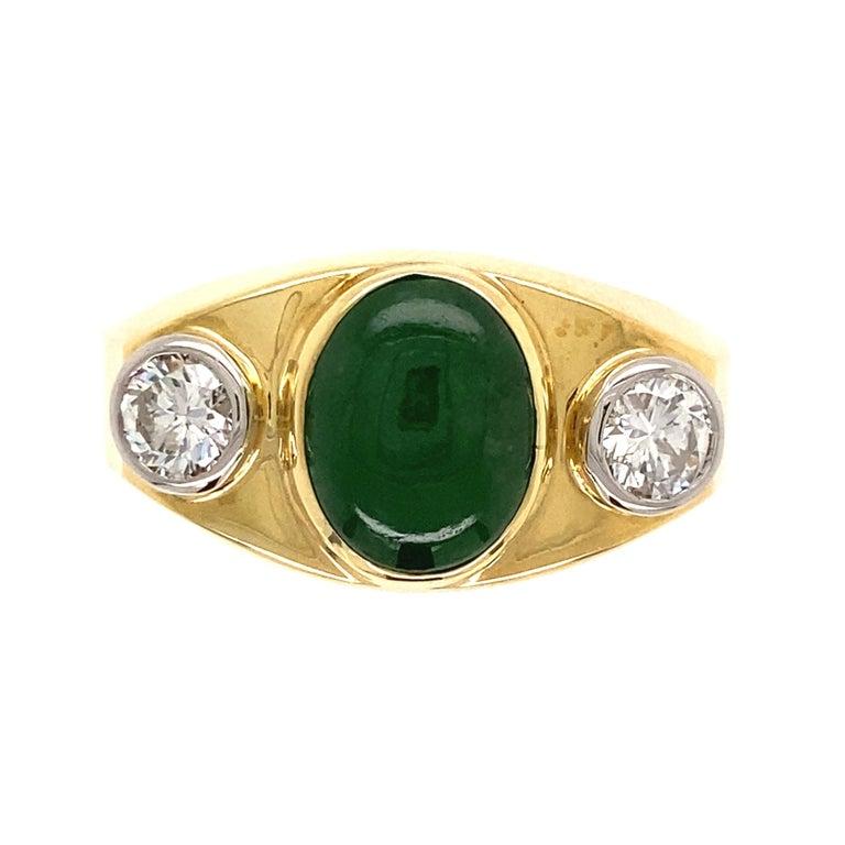 Fine Men's Jade and Diamond 3-Stone Gold Signet Ring Estate Fine Jewelry For Sale 1